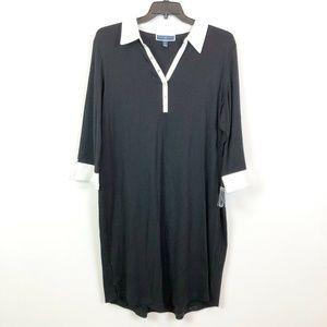 Karen Scott 1X Black White Collar Knit Dress 2S77